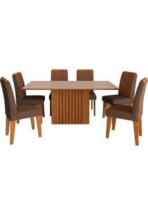 Conjunto De Mesa Com 6 Cadeiras Para Sala De Jantar 180X90 Ana/Tais-Cimol - Savana / Off White / Cacau