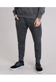 Calça Masculina Jogger Em Moletom Com Bolsos Cinza Mescla Escuro
