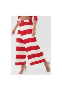 Calça Forum Pantalona Listrada Off-White