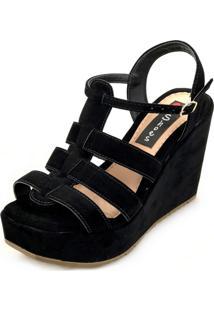 Sandália Anabela Love Shoes Alta Basica Tiras Nobuck Preto