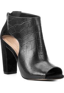 Ankle Boot Couro Shoestock Salto Grosso Croco Feminina - Feminino-Preto