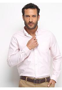Camisa Social Lacoste Manga Longa Masculina - Masculino-Rosa
