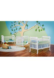 Dormitório Ariel - Guar. Roupa Ariel 4 Pts / Comoda Ariel 4 Gav / Berço Lila Branco