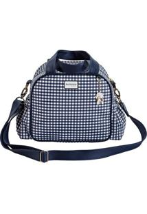 Bolsa Vichy - Branca & Azul Marinho- 33X28X7Cm -Batistela
