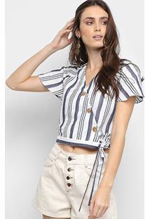 Blusa Cropped Lily Fashion Listrada Transpassada Botões Feminina - Feminino-Marinho
