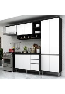 Cozinha Completa Multimóveis Suíça 5195Ml Com Balcão 10 Portas 2 Gavetas Preto/Branco