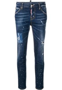 Dsquared2 Calça Jeans Destroyed Cool Girl - Azul