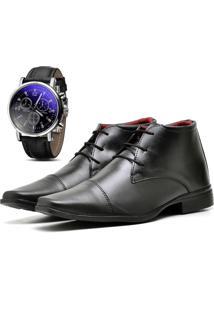 Kit Bota Coturno Sapato Casual Com Relógio Top Flex Social R109M Preto