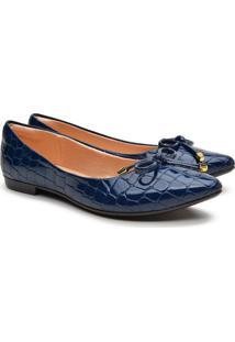 Sapatilha Feminina Croco Verniz Bico Fino Casual Conforto Azul 34 Azul