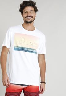 "Camiseta Masculina ""Calm"" Manga Curta Gola Careca Branca"