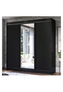 Guarda-Roupa Casal Madesa Istambul 3 Portas De Correr Com Espelho 3 Gavetas - Preto Preto