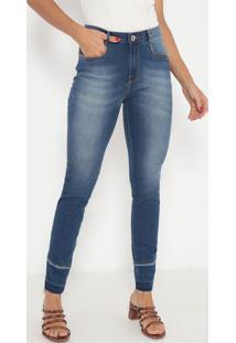 Jeans Skinny Com Bigodes & Bolsos- Azul- Ennaenna