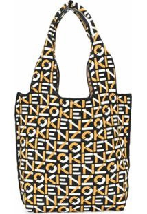Kenzo Bolsa Tote De Tricô Com Padronagem De Logo - Preto