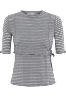 Blusa Feminina Sobreposta Listras - Cinza