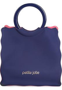 Bolsa Petite Jolie Shopper Curly Feminina - Feminino-Marinho