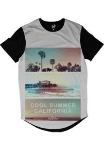 Camiseta Long Beach Verão Californiano Sublimada Masculina - Masculino-Preto