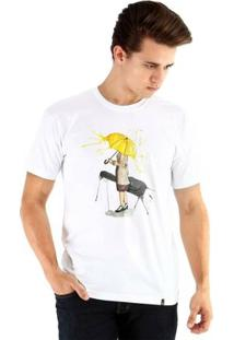 Camiseta Ouroboros Manga Curta Yellow Umbrella - Masculino-Branco