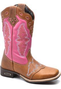 Bota Top Franca Shoes Texana - Feminino-Rosa+Caramelo