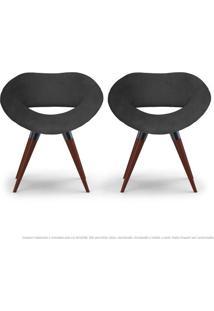 Kit 02 Poltronas Beijo Cinza Cadeiras Decorativas Com Base Fixa De Madeira