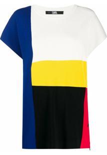 Karl Lagerfeld Gorro De Tricô Color Block - Branco