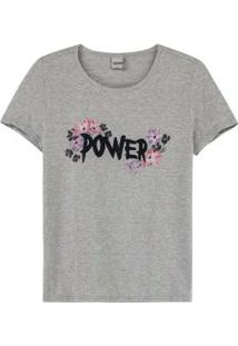 Blusa Cinza Power Com Aplique