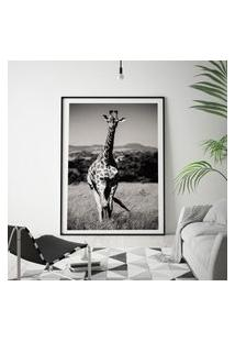 Quadro Com Moldura Chanfrada Girafa Preto E Branco Médio