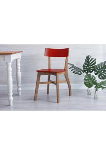Cadeira De Jantar De Madeira Bella - Amêndoa E Vermelho 44X51X82 Cm