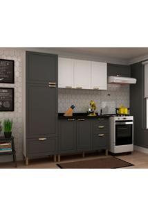 Cozinha Compacta Nevada I 8 Pt 4 Gv Grafite E Branca