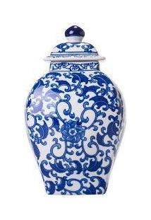 Vaso Decorativo Azulejo Português Com Tampa Azul E Branco Em Porcelana - 30X15 Cm