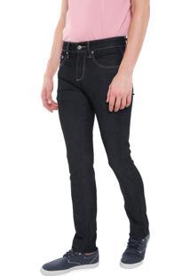 Calça Jeans Lacoste Reta Logo Azul-Marinho