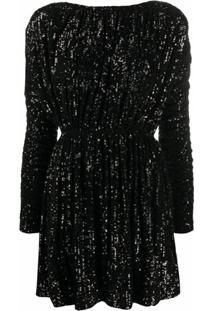 Saint Laurent Vestido Com Aplicação De Paetês - Preto