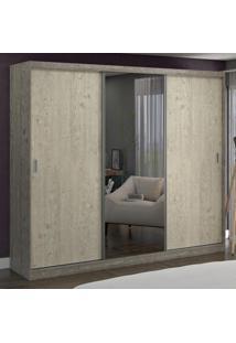 Guarda-Roupa Casal 3 Portas Com 1 Espelho 100% Mdf 774E1 Demoli/Marfim Areia - Foscarini