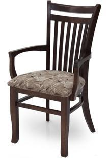 Cadeira De Jantar Esmeralda Com Braços - Ref Cj014B - Cor Imbuia / Tecido Es-1