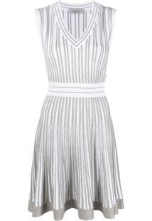D.Exterior Vestido Drapeado Com Listras Metálicas - Branco
