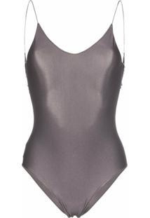 Oséree Travaille Lace Trim Scoop Back Swimsuit - Cinza