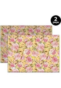 Jogo Americano Mdecore Floral 40X28 Cm Amarelo 2Pçs