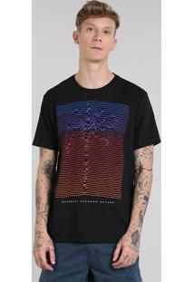 Camiseta Masculina Com Estampa De Coqueiro Manga Curta Gola Careca Preta