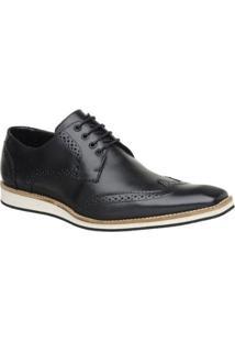 Sapato Casual Couro Oxford Malbork Masculino - Masculino-Preto