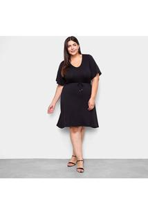 Vestido Lecimar Curto Plus Size Básico - Feminino-Preto