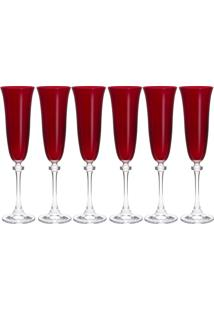 Jogo 6 Taças Para Champagne 190Ml Alexandra Vermelha Bohemia