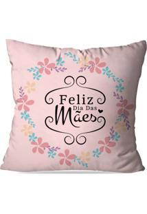 Capa De Almofada Avulsa Decorativa Feliz Dia Das Mães Floral 35X35Cm
