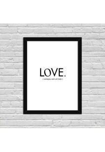 Quadro Decorativo Minimalista Love Começou Com Um Beijo Preto - Médio