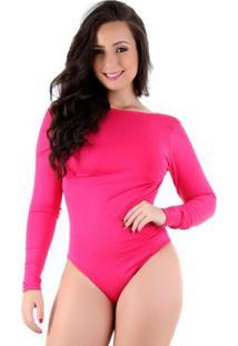 Body Costa Nua Manga Longa Suplex Liso - Feminino-Pink