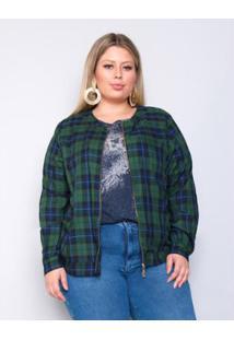 Jaqueta Bomber Plus Size Palank Omg Feminina - Feminino-Azul