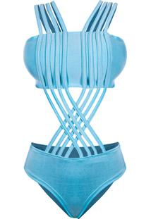 Body Outletdri Suplex Maiô Top Faixa Alcinha Tiras Multi Trançado Em X Azul Bebê