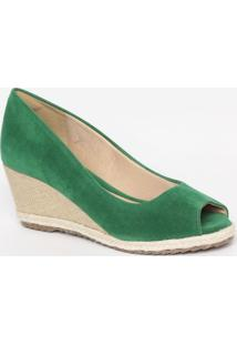 Peep Toe Anabela Com Sisal- Verde & Bege- Salto: 7Cmmya Haas