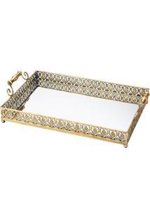 Bandeja De Ferro Com Espelho Dourada Belle Epoque 3218 Lyor Classic