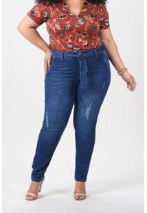 Calça Skinny Com Faixa E Puído Plus Size Jeans - Feminino