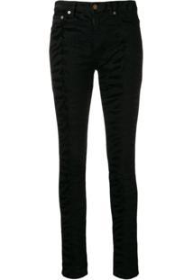 Saint Laurent Calça Jeans Com Animal Print - Preto