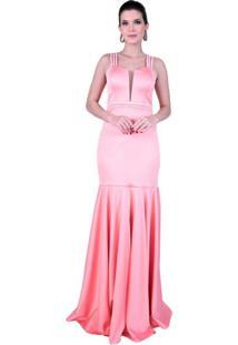 Vestido Fleche D'Or Longo Em Cetim Italiano, Alças E Cinto Bordados Rosa